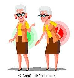 nő, öreg, előrehajol előrehajol, elszigetelt, ábra, hát, vector., isiász, karikatúra, fáj