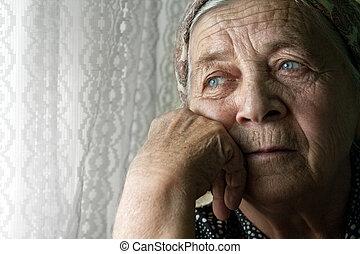 nő, öreg, gondolkodó, bús, elhagyott, idősebb ember
