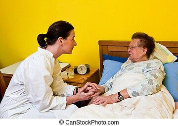 nő, öreg, törődik, gondozás