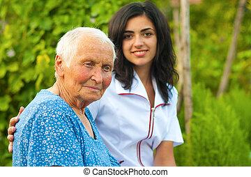 nő, öregedő, szabadban