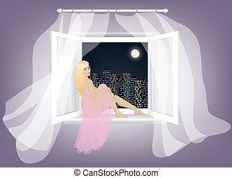 nő, ablak, ülés