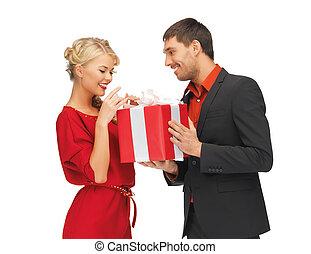 nő, ajándék, ember