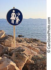 nő, -, aláír, gyermek, út, tengerpart