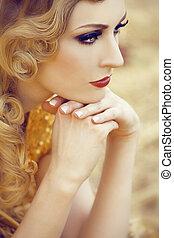 nő, arany, gyönyörű