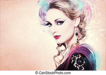 nő, artwork, gyönyörű