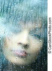 nő, bús, eső, fiatal, savanyúcukorka