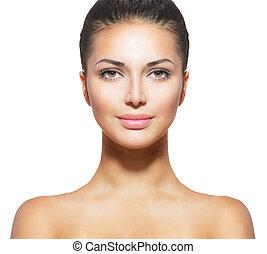 nő, bőr, friss, fiatal, arc, kitakarít, gyönyörű