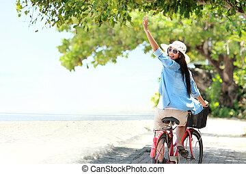 nő, bicikli, móka, lovaglás, tengerpart, birtoklás