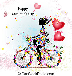 nő, bicikli, valentines