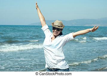 nő, boldog, kézbesít, levegő