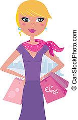 nő, boldog, szőke, bevásárlás