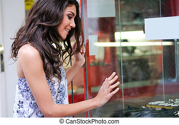 nő, bolt, fiatal, ablak, bájos, látszó
