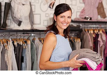 nő, butik, birtok, mosolygós, kazal, öltözék