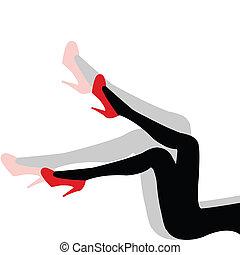 nő, cipők, szexi, árnyék, combok, piros