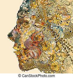 nő, colorful virág, alakítás, arc, sors
