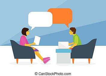 nő, csevegés, emberek társalgás, fejteget, ülés, ember