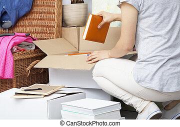 nő, csomagolás, töm, épület