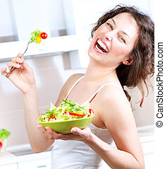 nő, diet., növényi, fiatal, étkezési, saláta, egészséges