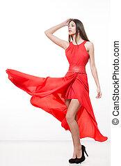nő, dress., szépség, csapkodó, fiatal, piros