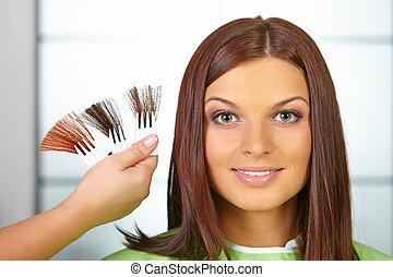 nő, dye., szín, haj, choses, salon.