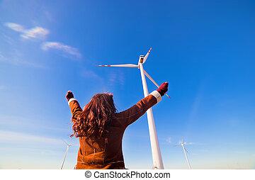 nő, eco, turbines, feláll, látszó, kézbesít, felteker, boldog