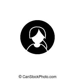 nő, egyszerű, jelkép., vektor, tervezés, avatar, női, icon., glyph