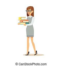 nő, előjegyez, szállítás, könyvtár, személy, vektor, cölöp, ábra, mosolygós, szemüveg