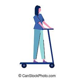 nő, elektromos, avatar, fiatal, betű, korcsolyázik