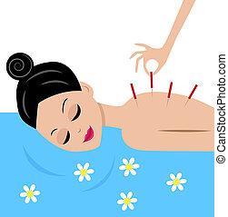 nő, elfogad, eljárásmód, akupunktúra