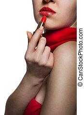 nő, elszigetelt, ajkak, ajakrúzs, piros, gyönyörű, fehér