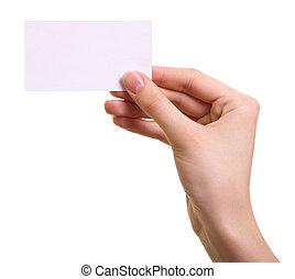 nő, elszigetelt, kéz, dolgozat, háttér, fehér, kártya