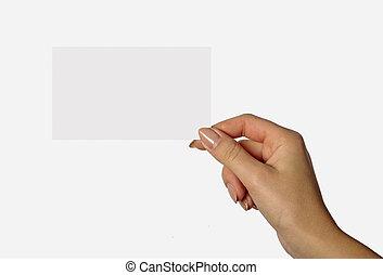 nő, elszigetelt, kéz, háttér, tiszta, fehér, kártya