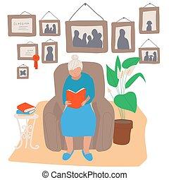 nő, emberek, ábra, ülés, karosszék, olvasókönyv, vektor, öregedő