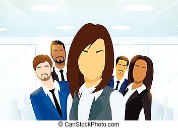 nő, emberek ügy, vezető, befog, csoport, különböző