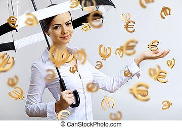 nő, esernyő, ügy, pénz, eső, alatt