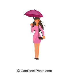 nő, esernyő, birtok, eső, alatt