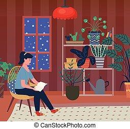 nő, este, tél, könyv, egyedül, otthon, felolvasás