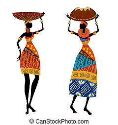 nő, etnikai, váza