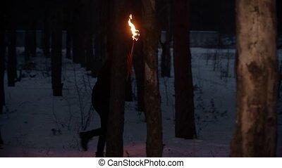 nő, fáklya, gyalogló, éjszaka, elveszett, fiatal, erdő