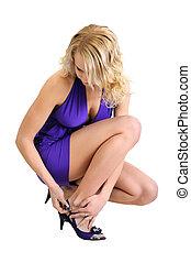 nő, fárasztó, bájos, cipők