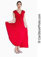 nő, fárasztó, piros ruha
