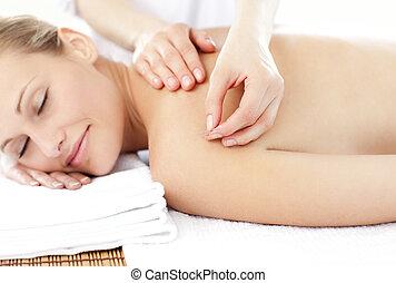 nő, fényes, felfogó, kaukázusi, bánásmód, akupunktúra