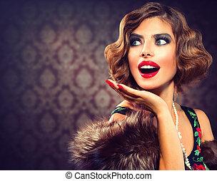nő, fénykép, címzett, lady., portrait., retro, szüret, meglepődött
