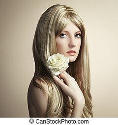 nő, fénykép, fiatal, szőr mód, szőke