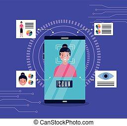 nő, fürkész, arc, smartphone, elismerés, biometric