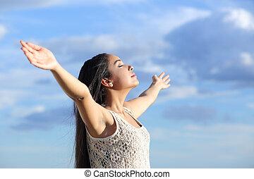 nő, fegyver, friss, arab, emelt, lélegzés, gyönyörű, levegő