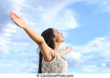 nő, fegyver, friss, arab, portré, emelt, lélegzés, gyönyörű, levegő