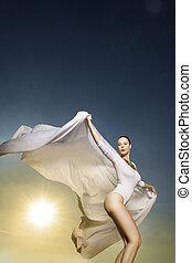 nő, fehér, tánc, gyönyörű