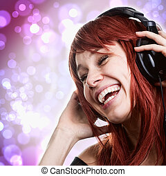 nő, fejhallgató, zene, móka, birtoklás, boldog