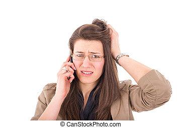 nő, felett, hallás, telefon, rossz hír